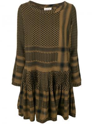 Расклешенное платье с узором Cecilie Copenhagen. Цвет: зелёный