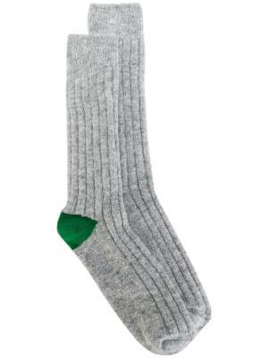 Носки с контрастными пятками Bellerose. Цвет: серый