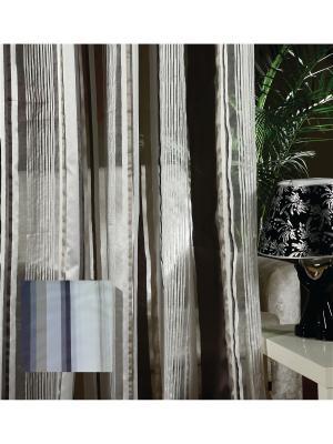Тюль Коричневые полоски, 300*275 см Ambesonne. Цвет: белый, серый, коричневый, бежевый