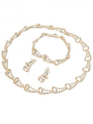 Набор бижутерии (Колье, серьги, браслет) Chantal. Цвет: золотистый, белый