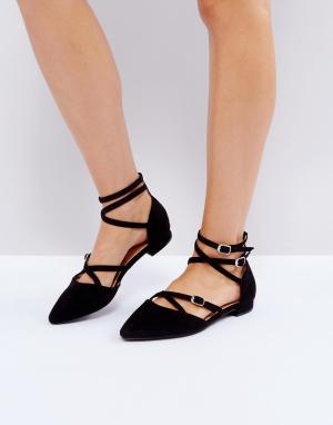 Raid Туфли на плоской подошве с ремешком щиколотке Marci. Цвет: черный