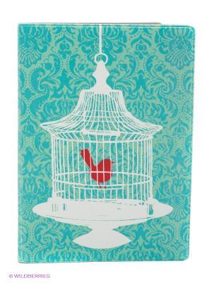 Обложка для автодокументов Птичка в клетке Mitya Veselkov. Цвет: голубой, белый