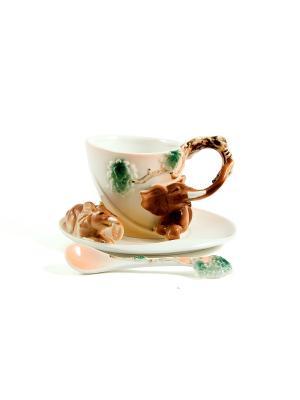 Подарочный чайный набор Слоники на 1 персону Русские подарки. Цвет: белый, зеленый, коричневый