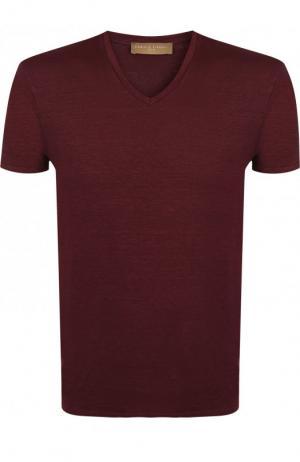 Льняная футболка с V-образным вырезом Daniele Fiesoli. Цвет: бордовый