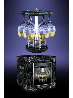Набор 13 предметов с барной стойкой  рисунок Греческий узор Гусь-Хрустальный. Цвет: прозрачный