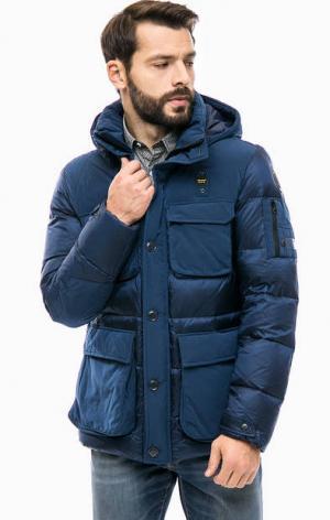 Синий пуховик с карманами и съемным капюшоном Blauer usa. Цвет: синий