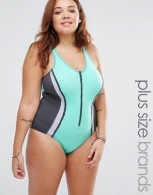 Robyn Lawley Слитный купальник на молнии. Цвет: зеленый