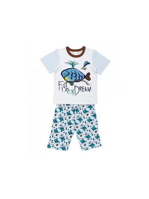 Пижама Модамини. Цвет: белый, голубой