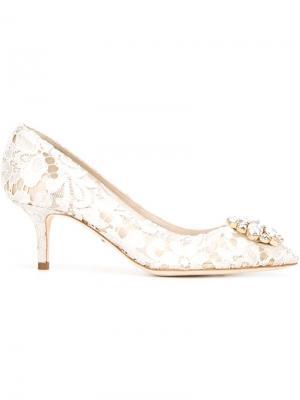 Туфли с кружевной отделкой Dolce & Gabbana. Цвет: серый