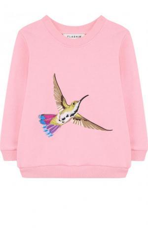 Свитшот с вышивкой Birdie Flashin. Цвет: розовый