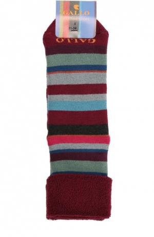 Носки с рисунком в полоску Gallo. Цвет: бордовый