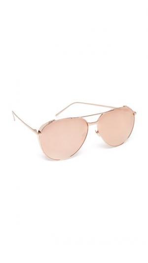 Зеркальные солнцезащитные очки-авиаторы Linda Farrow Luxe