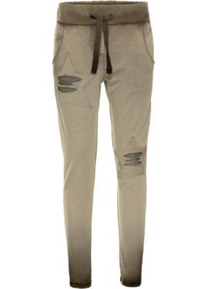 Трикотажные брюки (оливковый «потертый») bonprix. Цвет: оливковый «потертый»