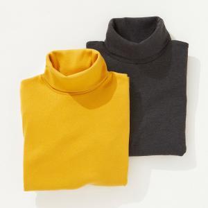 Водолазка на 3-12 лет (комплект из 2) La Redoute Collections. Цвет: белый + темно-розовый,желтый + серый,синий + розовый,фуксия + фиолетовый,черный + серо-сиреневый