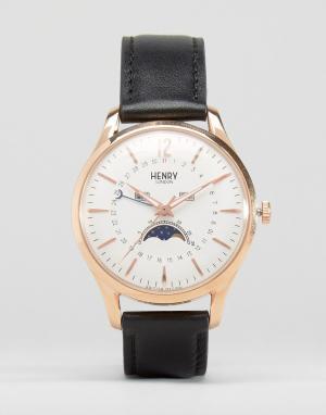 Henry London Часы с индикатором даты и фаз Луны Richmond. Цвет: черный