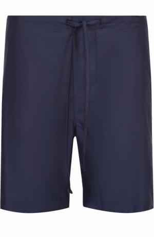 Хлопковые домашние шорты с поясом на резинке Zimmerli. Цвет: темно-синий