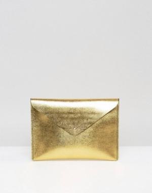 Leather Satchel Company Золотистый клатч. Цвет: золотой