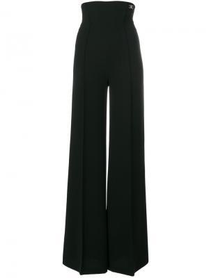 Расклешенные брюки с высокой талией Elisabetta Franchi. Цвет: чёрный
