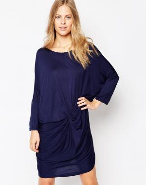 Soaked in Luxury Цельнокройное платье с рукавами 3/4. Цвет: синий