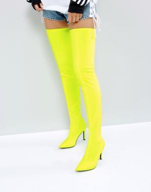 ASOS Эластичные ботфорты KITTY. Цвет: желтый