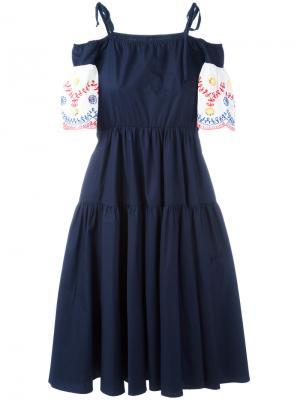 Платье с вышивкой IM Isola Marras I'M. Цвет: синий