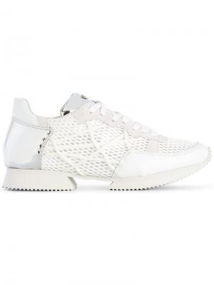 Сетчатые кроссовки со шнуровкой Alberto Premi. Цвет: белый