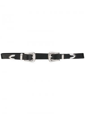 Ремень с двумя пряжками B-Low The Belt. Цвет: чёрный