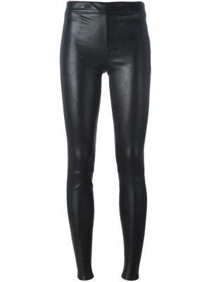 Кожаные брюки кроя скинни Helmut Lang. Цвет: чёрный