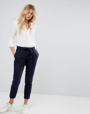 JDY Укороченные брюки с завязывающимся поясом. Цвет: темно-синий