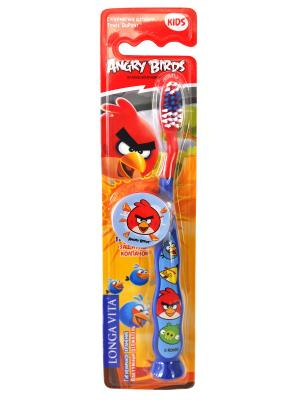 Детская зубная щетка Angry Birds, мануальная с защитным колпачком Longa Vita. Цвет: синий