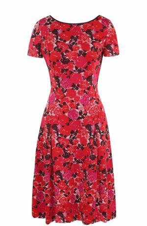 Приталенное платье-миди с цветочным принтом St. John. Цвет: красный