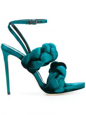 Босоножки с плетеным дизайном Marco De Vincenzo. Цвет: синий