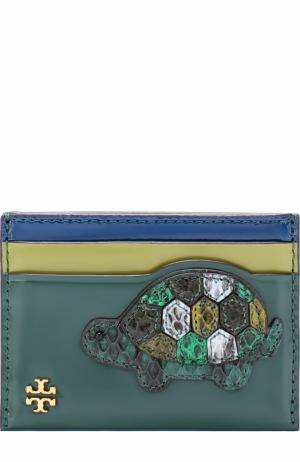 Кожаный футляр для кредитных карт Turtle с аппликацией Tory Burch. Цвет: зеленый