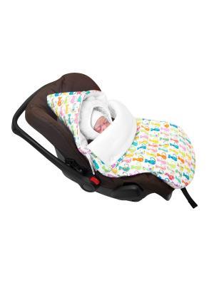 Конверт для новорождённого в автокресло Диско-кошки (зима) MIKKIMAMA. Цвет: белый, салатовый, голубой, розовый, желтый