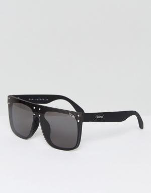 Quay Australia Черные солнцезащитные очки с плоским верхом X Kylie Jen. Цвет: черный