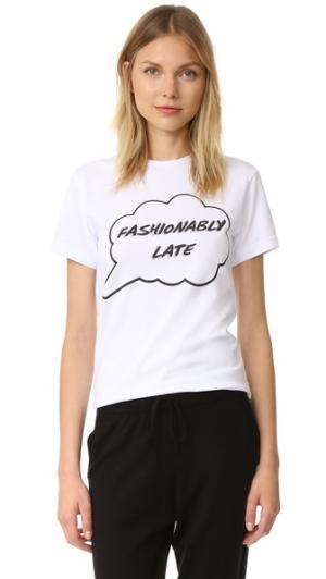 Футболка с надписью «Fashionably Late» Anna K. Цвет: белый
