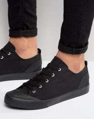 ASOS Черные кеды с отделкой и шнуровкой. Цвет: черный