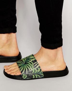 Slydes Шлепанцы с пальмовым принтом. Цвет: черный