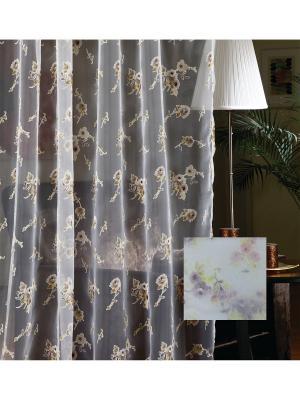 Тюль, органза Лиловые цветы, 300*275 см Ambesonne. Цвет: розовый, белый, зеленый, фиолетовый