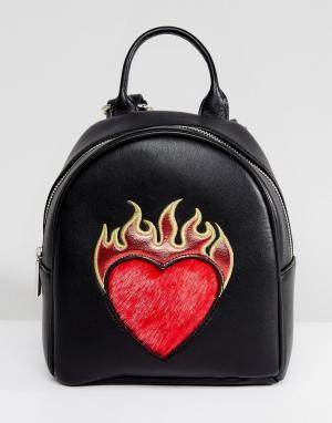 Skinnydip Маленький рюкзак с сердцем. Цвет: черный