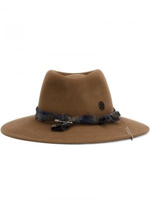 Шляпа-федора Maison Michel. Цвет: коричневый