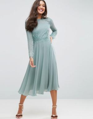 ASOS Платье миди с длинными рукавами отделкой. Цвет: синий