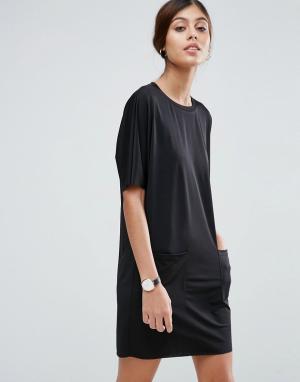 ASOS Платье-футболка с карманами. Цвет: черный