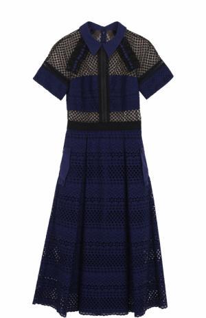 Приталенное платье-миди с кружевной отделкой self-portrait. Цвет: темно-синий