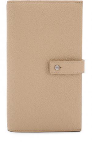Кожаное портмоне с футляром для кредитных карт Saint Laurent. Цвет: светло-бежевый