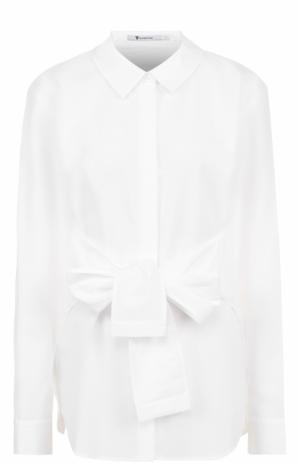 Приталенная хлопковая блуза с поясом T by Alexander Wang. Цвет: белый