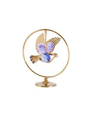 Фигурка декоративная Голубь на подвеске CRYSTOCRAFT. Цвет: золотистый
