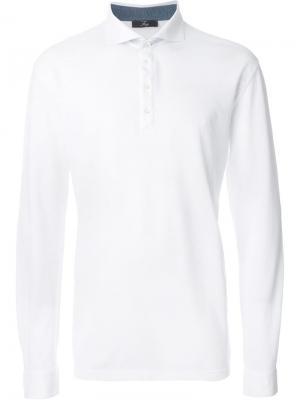 Рубашка-поло с длинными рукавами Fay. Цвет: белый