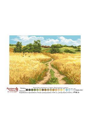 Рисунок на канве Русское поле Матренин Посад. Цвет: светло-голубой, белый, коричневый