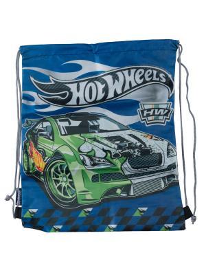 Сумка-рюкзак для обуви. Hot Wheels. Цвет: зеленый,светло-серый,синий